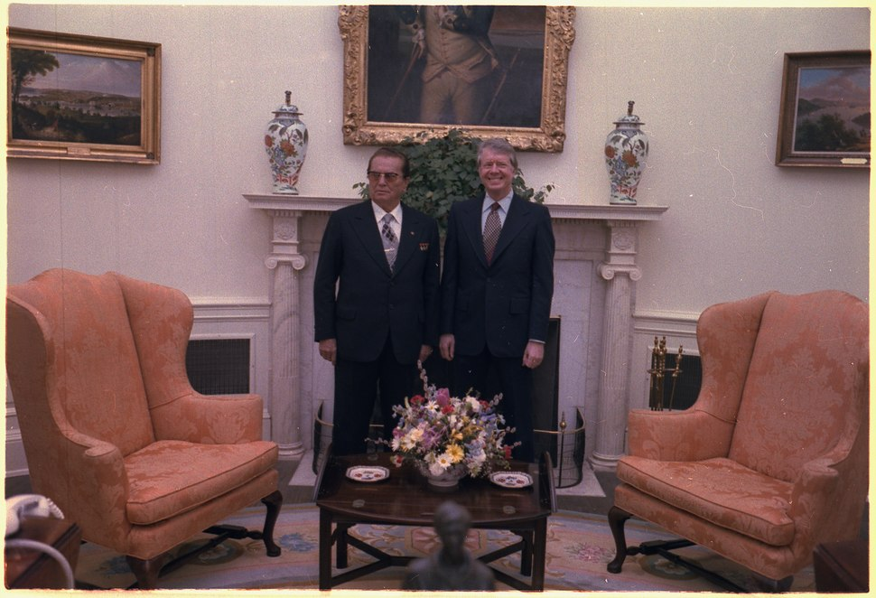 Jimmy Carter and Josip Tito in the Oval Office - NARA - 178245