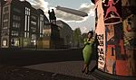 Jo Yardley stands on Unter den Linden, The 1920s Berlin Project, part of the virtual world Second Life.jpg