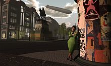 Jo Yardley stands on Unter den Linden, The 1920s Berlin Project, part of the virtual world Second Life