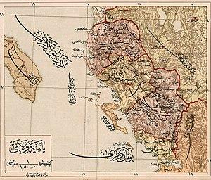 Sanjak of Preveza - 1907 Ottoman map of the Vilayet of Ioannina, with the Sanjak of Preveza in the bottom