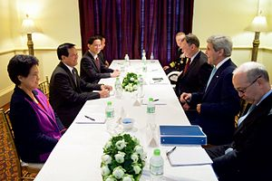 Cambodia National Rescue Party - Vice President Kem Sokha and other party officials meeting with US Secretary of State John Kerry.