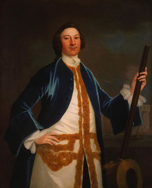 John Wollaston (painter) - Early Wollaston: Unidentified British Navy Officer, c. 1745, oil on canvas, in the National Gallery of Art