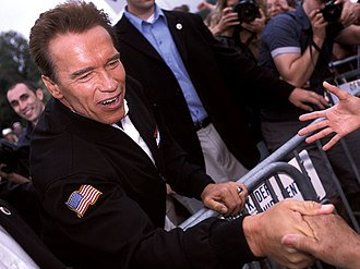 Political career of Arnold Schwarzenegger - Arnold Schwarzenegger greets supporters at the Los Angeles Arboretum during a stop on his campaign for governor of California, 2003.