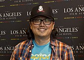 A photograph of Joseph Kahn at the screening of his movie Detention.