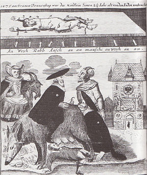 "Blood libel - From an 18th-century etching from Brückenturm. Above: The murdered body of Simon of Trent. Below: The ""Judensau."""