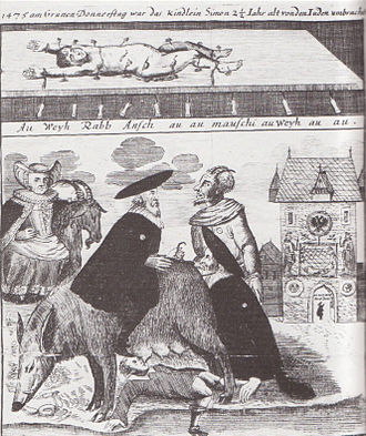 "Blood libel - From an 18th-century etching from Brückenturm. Above: The murdered body of Simon of Trent. Below: The ""Judensau"""