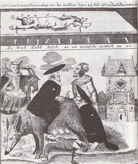 "From an 18th-century etching from Bruckenturm. Above: The murdered body of Simon of Trent. Below: The ""Judensau"" Judensau Frankfurt.jpg"