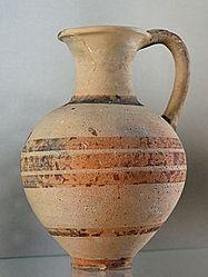 Jug, Cypriot imitation of Mycenaean IIIC pottery (pale buff slip and orange-brown paint). Late Bronze III, From tomb 410, 2 at Enkomi, north-western Cyprus.