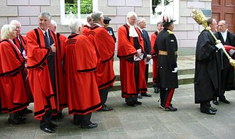 Judiciary of Jersey - The Bailiff and Jurats outside the Royal Court in 2009
