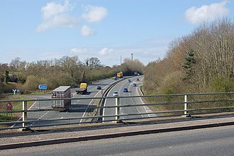 M50 motorway (Great Britain) - The minor Junction 3 exits, viewed from the adjoining minor road bridge