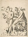 Juno, Ceres, and Psyche in the clouds conversing, Juno seated with a peacock at her feet, Ceres wearing a garland of wheat and Psyche partially naked and holding a cloth MET DP818719.jpg