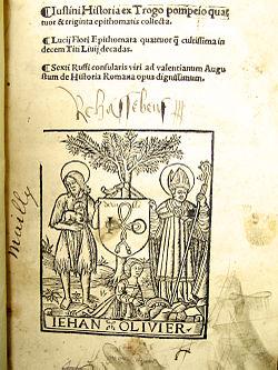 Justin, L'histoire de Trogue Pompée, impression Jehan Olivier, 1519 seul exemplaire connu.jpg