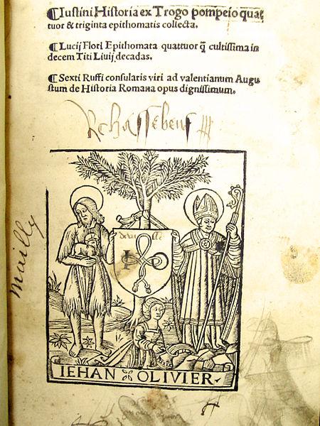 File:Justin, L'histoire de Trogue Pompée, impression Jehan Olivier, 1519 seul exemplaire connu.jpg