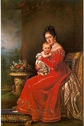 Pauline von Württemberg und ihr Sohn Karl um 1825 (Quelle: Wikimedia)