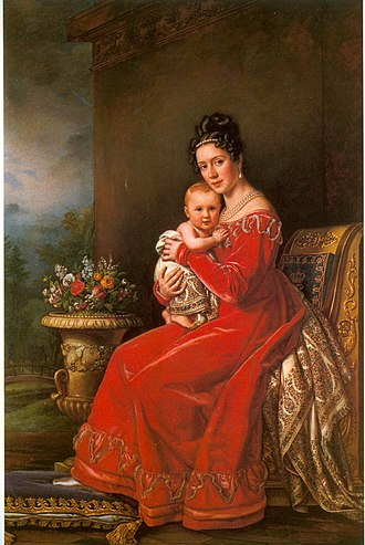 William I of Württemberg - Queen Pauline and her son Charles in 1825.