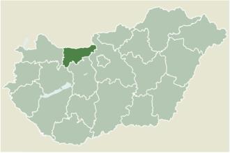 Neszmély - Location of Komárom-Esztergom county in Hungary