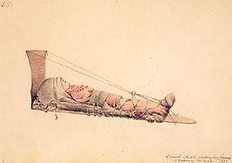 Skizze eines Kleinkindes der Flachkopf-Indianer