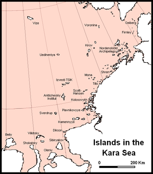 Kara Sea - Main islands and island groups in the central and eastern regions of the Kara Sea.