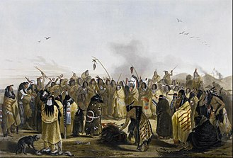 Scalping - Scalp dance of the Minnataree, a sub branch of the Sioux Indians, painting by Karl Bodmer