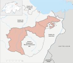 """Mapa konturowa Appenzell Ausserrhoden, po lewej znajduje się punkt z opisem """"Herisau"""""""