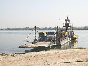Pontoon (boat) - A pontoon ferry crossing the Zambezi at Kazungula