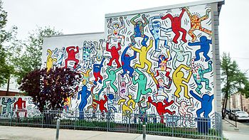 Keith Haring's mural We the Youth at 22nd and Ellsworth Streets in Point Breeze. Used by permission. Keith Haring artwork © Keith Haring Foundation