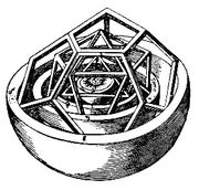 Vue détaillée de la partie interne de la modélisation de l'Univers selon Kepler.