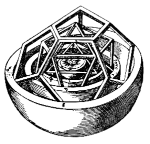 Sacred geometry - Inner section of Kepler's Platonic solid model of planetary spacing in the Solar System from Mysterium Cosmographicum (1596)