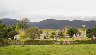 Slieve Mish Mountains - Ruins of the Augustinian Priory St. Mary de Bello Loco in front of the southern side of the Slieve Mish Mountains
