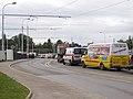 Kolaudace TT Prašný most – Špejchar, doprava na provizorním mostu.jpg