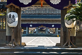 Sanmon - A sanmon seen through its sōmon, (outer gate)
