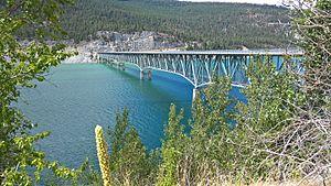 Lake Koocanusa - The Kootenai Bridge over Lake Koocanusa from the east bank.