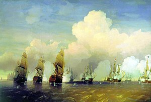 Military history of Sweden - A naval scene from the Battle of Krasnaya Gorka, near Kronstadt.