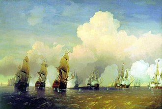 Military history of Sweden - A naval scene from the Battle of Krasnaya Gorka, near Kronstadt.