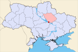 Map of Ukraine with Kremenchuk highlighted within Poltava Oblast.