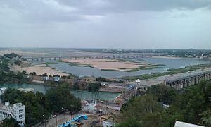 Krishna River - Down stream view of Prakasam Barrage.