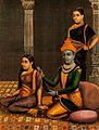 Krishna combing Radha's hair with attendant in the backgroun Wellcome V0045055.jpg