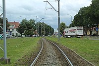 Ku Słońcu Street in Szczecin, tram track, 2015.jpg