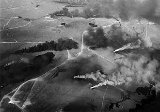 Invasion of Kuwait - Aerial view of oil wells on fire