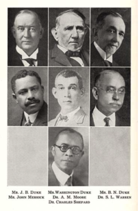 Mr. J.B. Duke, Washington Duke, B.N. Duke, John Merrick, A.M. Moore, S.L. Warren, and Dr. Charles Shepard.