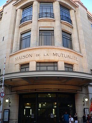 Maison de la Mutualité - The main entrance of La Mutualité, during an electoral meeting of Olivier Besancenot