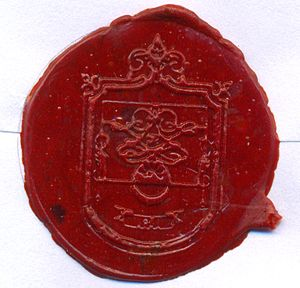 Sealing wax - Wax seal in a letter, Fonseca Padilla Family Coat of Arms, Jalisco, México.