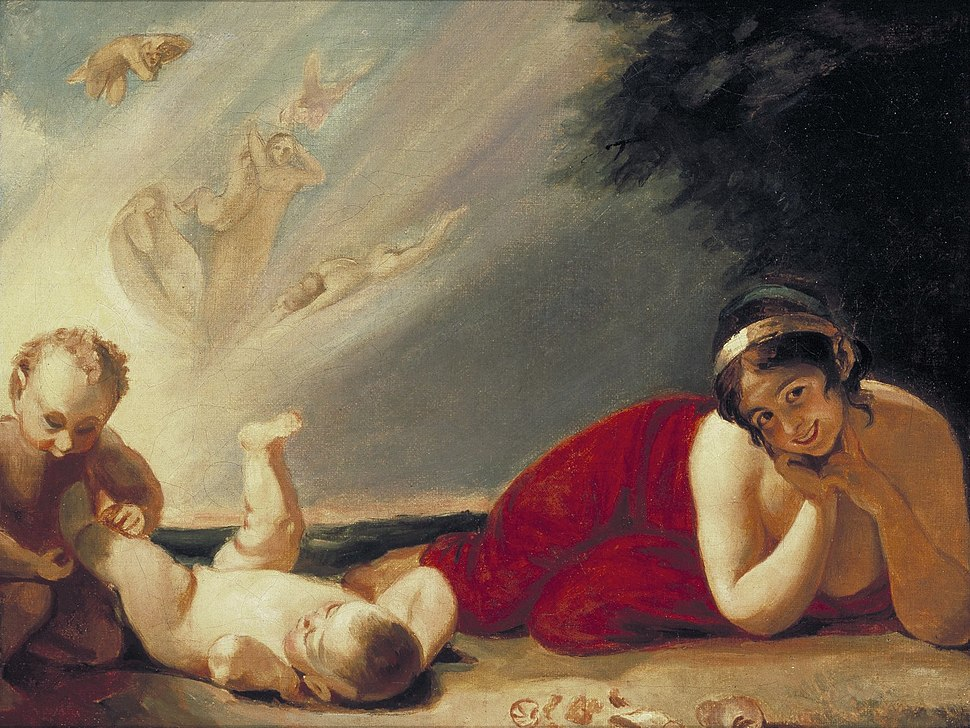 Lady Hamilton as Titania with Puck and Changeling (Romney, 1793)