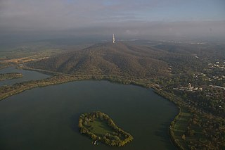 Springbank Island island on Lake Burley Griffin in Canberra, Australia