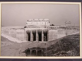 Wright Patman Lake - A government photo of the gates on the dam at Lake Texarkana during construction.