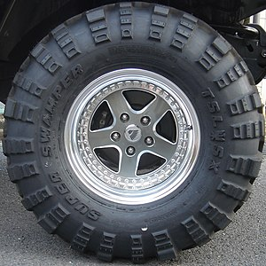 "Large treaded tire, named as a ""super swa..."
