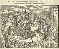 Protestants Hugh Latimer and Nicholas Ridley being burned at the stake during Mary's reign