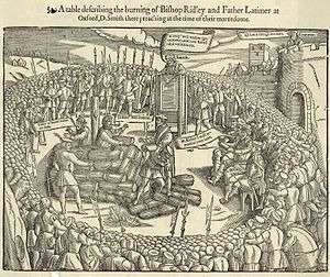 John Day (printer) - Woodcut from John Foxe's Actes and Monuments depicting the burning of Hugh Latimer and Nicholas Ridley in 1555