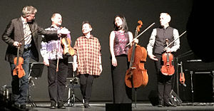 Kronos Quartet - On stage with Laurie Anderson, after performing LANDFALL at the Harris Theater on March 17, 2015