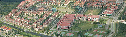 Sky view of Education and Hostel block in Bandar Universiti Teknlogi Legenda, Mantin The purpose-built campus has a complete range of facilities which includes more than 4,300 apartments with an overall capacity for over 25,000 students.